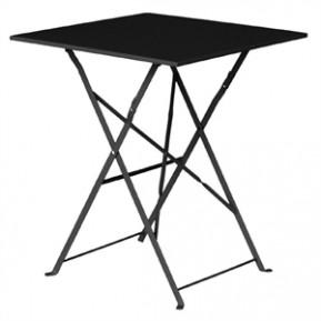Table en acier Bolero, carrée, noire, pliante