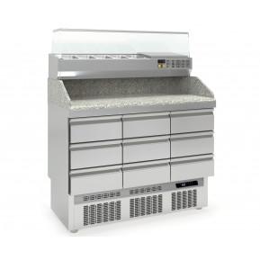 Pizzatisch PROFI 0/9 Mini mit Kühlaufsatz - Plus   Kühltechnik/Kühltische/Pizza-Kühltische