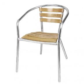 Aluminium - Eschenholzstühle Bolero stapelbar (4 Stk.)