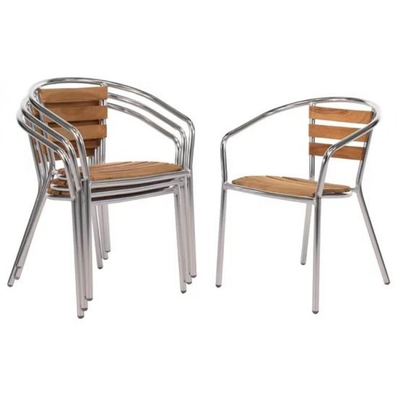 4 chaises à accoudoirs en aluminium et bois de frêne Bolero