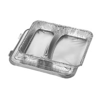 Barquette en aluminium Papstar avec couvercle en aluminium, 17,7 x 22,5 x 3cm, volume: env. 830ml – 50pièces par paquet