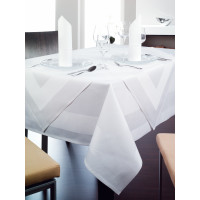 Linge de table Madeire rond, 100 % coton, sans bordure satinée, 210 cm