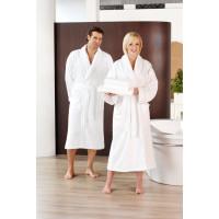 Peignoir de bain col châle, 2poches latérales, 100% coton, blanc, taille XL