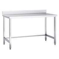 Table de travail en inox Eco 6x6 sans étagère basse, avec dosseret