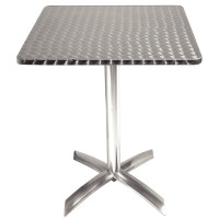 Table pliante carrée en inox Bolero, 1 pied, 60 x 60 cm