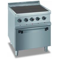 Fourneau électrique Dexion série 77 - 70/70 + four ventilé électrique avec plans de cuisson carrés et abaissés