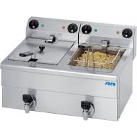 Elektro-Doppel-Fritteuse Profi 10+10 Liter mit Ablasshahn
