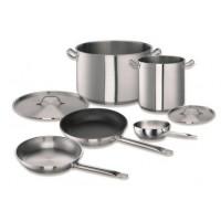 Lot de casseroles et poêles, inox, 7 pièces, avec couvercle