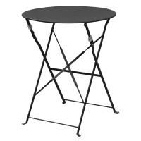 Table en acier Bolero, ronde, noire, pliante