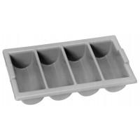 Range-couverts, 4 compartiments, gris