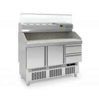Table pizzaïolo PROFI Mini 2/2 avec présentoir réfrigéré