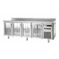 Tiefkühltisch Premium 4/0 mit Glastüren und Aufkantung